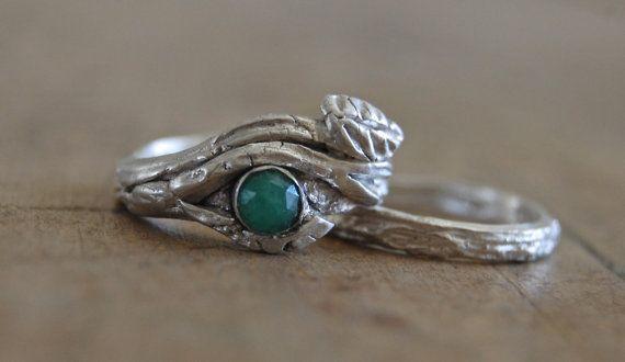 Artisan Wedding Rings EMERALD Engagement Nature Gift Bark Leaf Branch
