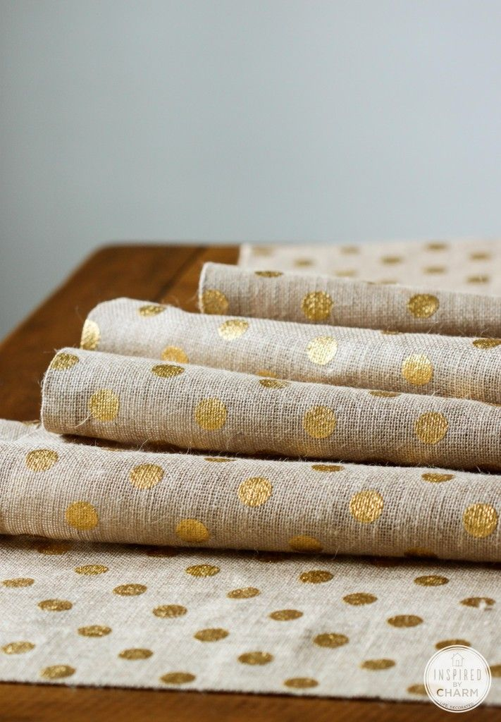 gold polka dot table runner.