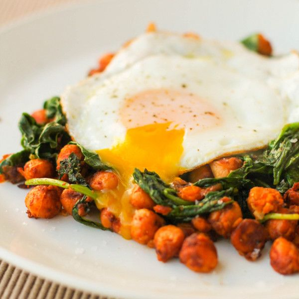 Smokey Chickpeas with Spinach and a Fried Egg. Added some fried onions ...