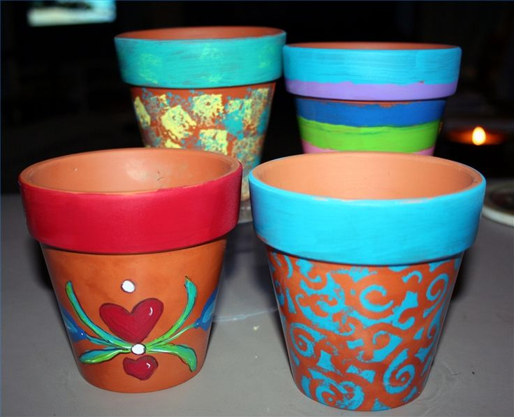 Ideas for painting clay pots the right thing for Big pot painting designs