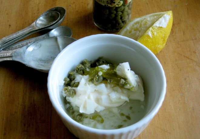 Homemade tartar sauce. Simple. Only thing I don't add is the capers ...