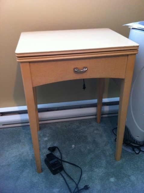 white sewing machine cabinet