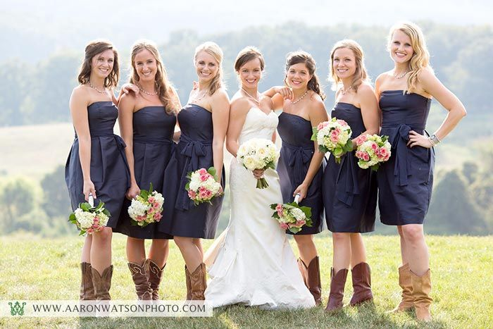 Navy Blue Bridesmaid Dresses With Cowboy Boots Pin by Sarah Schelling...