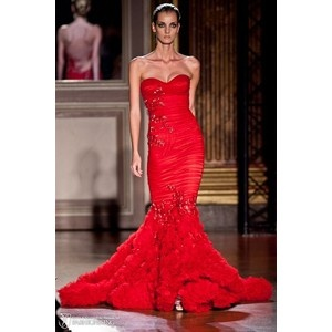 Murad strapless red mermaid gown.