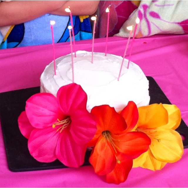 Luau birthday cake: coconut cake w/orange scented frosting