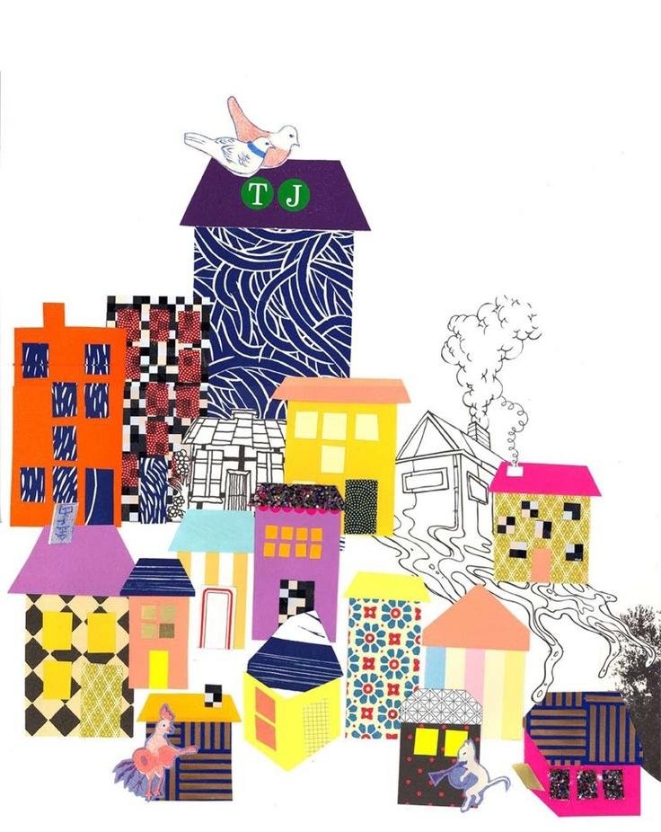 "Plakat fra webshoppen www.mimiscircus.com: Tex & Jack: ""Små Huse"" (32 x 45 cm)"