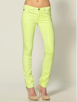 neon yellow cigarette leg jeans by AG