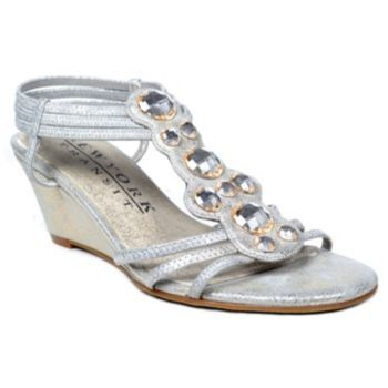 York Transit Greater Cover Embellished T-Strap Wedge Sandals - Women