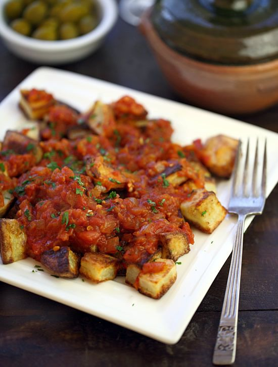 ... potato pieces served with spicy Spanish tomato sauce) #recipe #keeper
