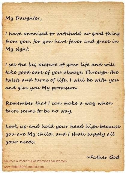 Dear daughter letter from god words to live by pinterest