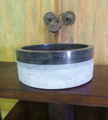 Stone Bathroom Sink Bowls : Balinese Marble Stone Bathroom Round Basin Sink Bowl Large 40cm