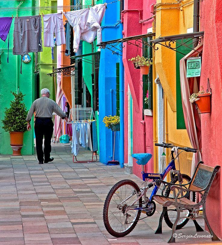 """Burano - Venice, Italy • """"Vivere nei colori"""" by Sergio Levorato on"""