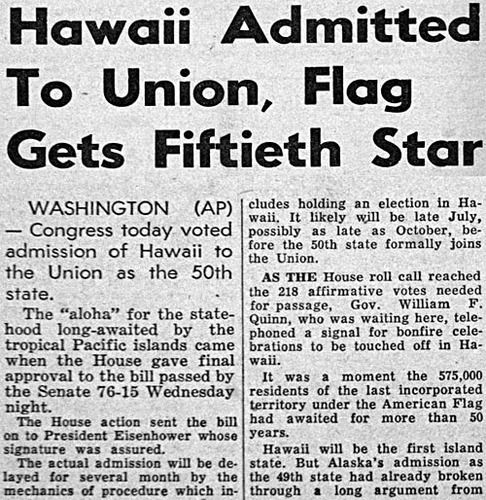 Hawaii becomes 50th state