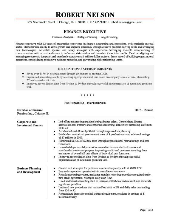 Executive Resume Examples  Resume Resource