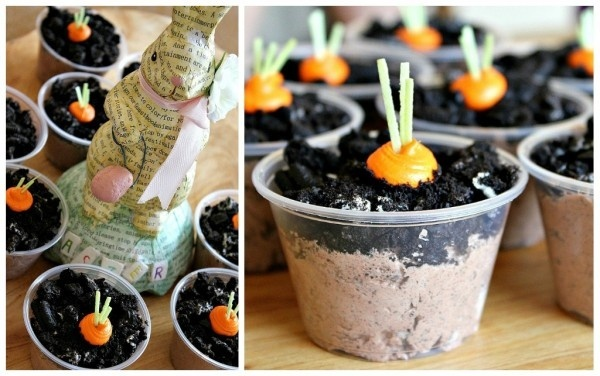 Homemade carrot patch (dirt in a cup) Easter treats for kids.