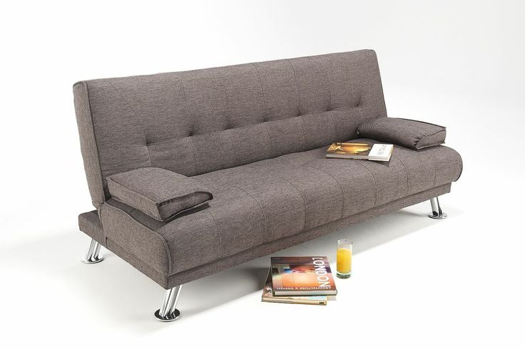 Large Fabric Italian Style Sofa Bed on Chrome Legs