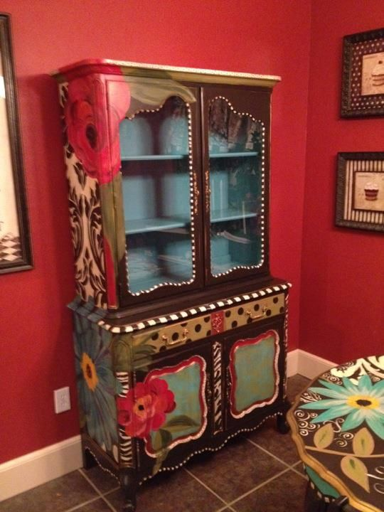 Hand painted hutch bright and cheery fun pinterest for Hand painted furniture