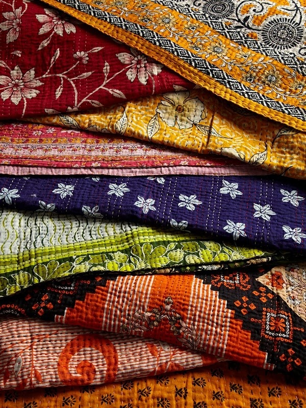 one-of-a-kind Kantha quilts and cushions by Jeanette Farrier