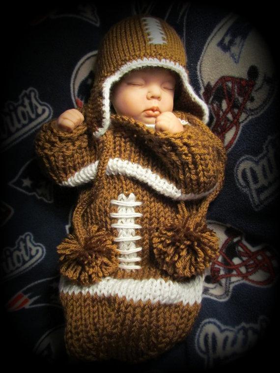 Baby Football Hat, Helmet and Matching Cocoon, Newborn, Handmade, Kni?