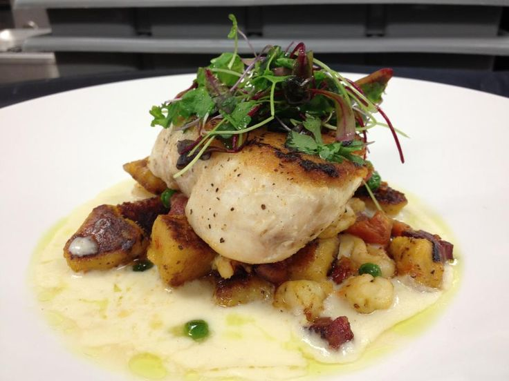 pan seared golden tile on top of lobster and butternut squash gnocchi ...