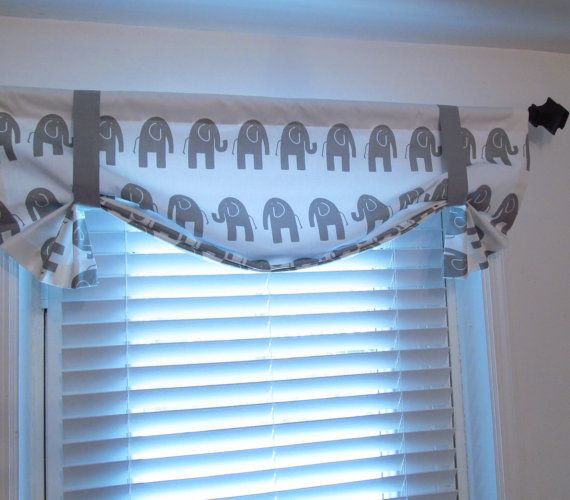 Gray white elephant valance nursery curtain valance handmade in usa