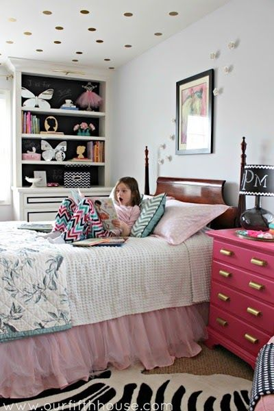 girls pink and gold bedroom DECOR