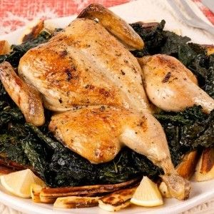 Spatchcock Chicken With Mustard-Glazed Parsnips and Crispy Kale - Rec ...
