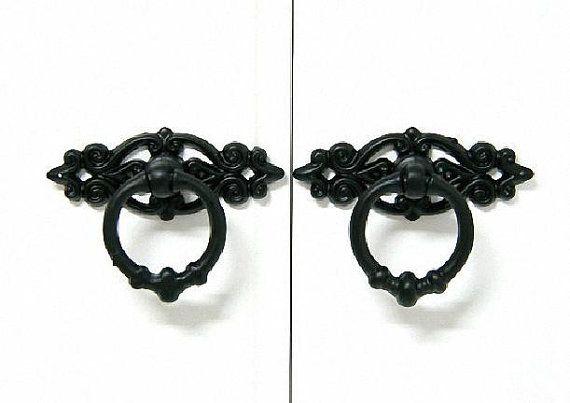 Black Vintage Dresser Drawer Pulls Handles Knobs Ring Drop Pull