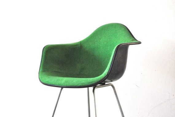 Herman miller upholstered fiberglass chair green mid century chair