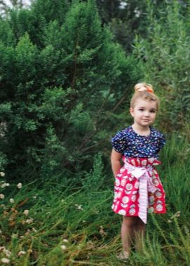 high waisted toddler skirt in poppy