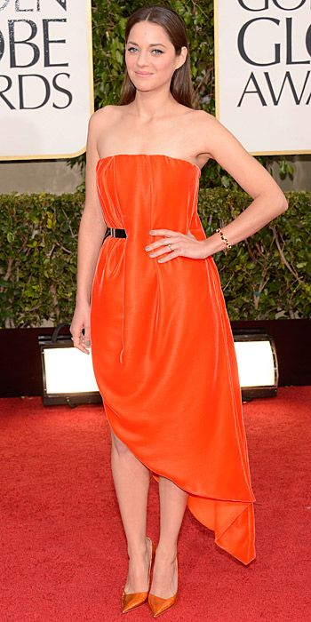 Marion Cotillard in orange Dior at the Golden Globes 2013