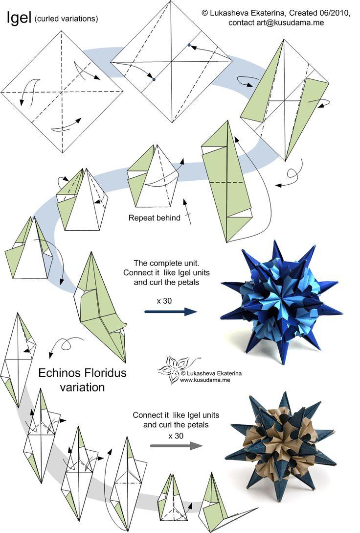 Схема как сделать оригами из бумаги шар