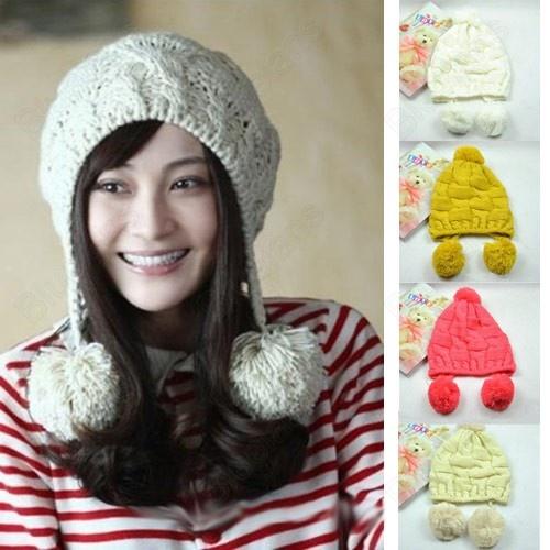 Knitting Meaning In Marathi : Cute knitting wool winter warm women ear protectors hat