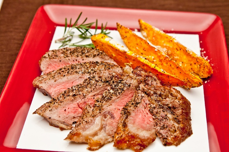 Rib Eye Steak with Sweet Potatoes Parmesan