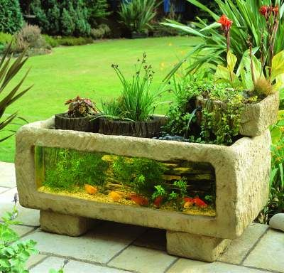 An outdoor aquarium, what fun! It seems to be discontinued on all sites, I guess due to too many boiled fish in the sun. But still, a lovely idea for the right climate/location