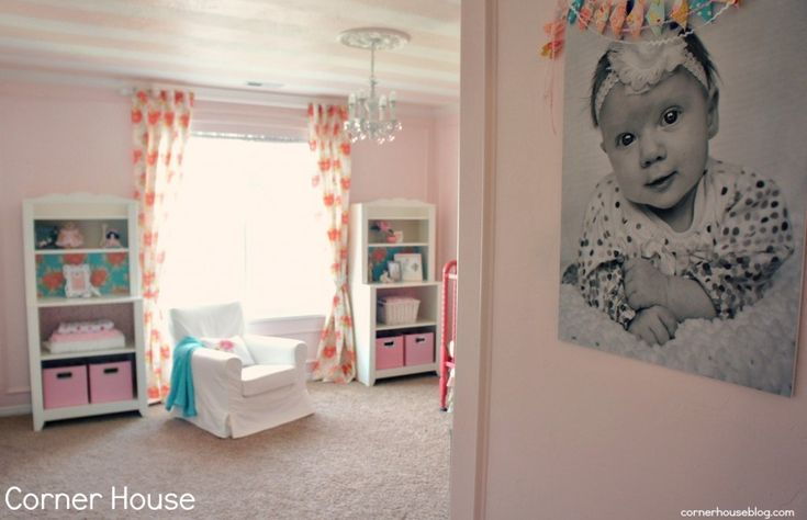 Adorably sweet pink nursery with striped pink ceiling!