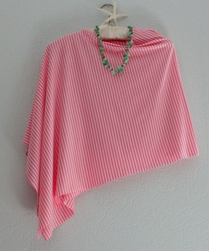 Knitting Pattern For Summer Poncho : Summer Stripe Jersey Knit Poncho Lace doily ideas Pinterest