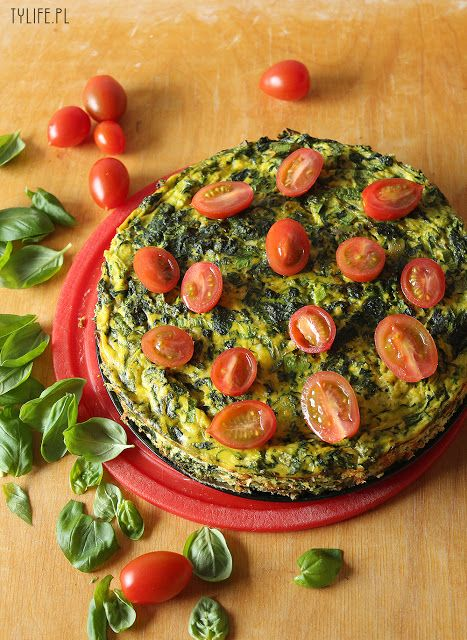 Frittata with zucchini, spinach, ricotta, and tomatoes