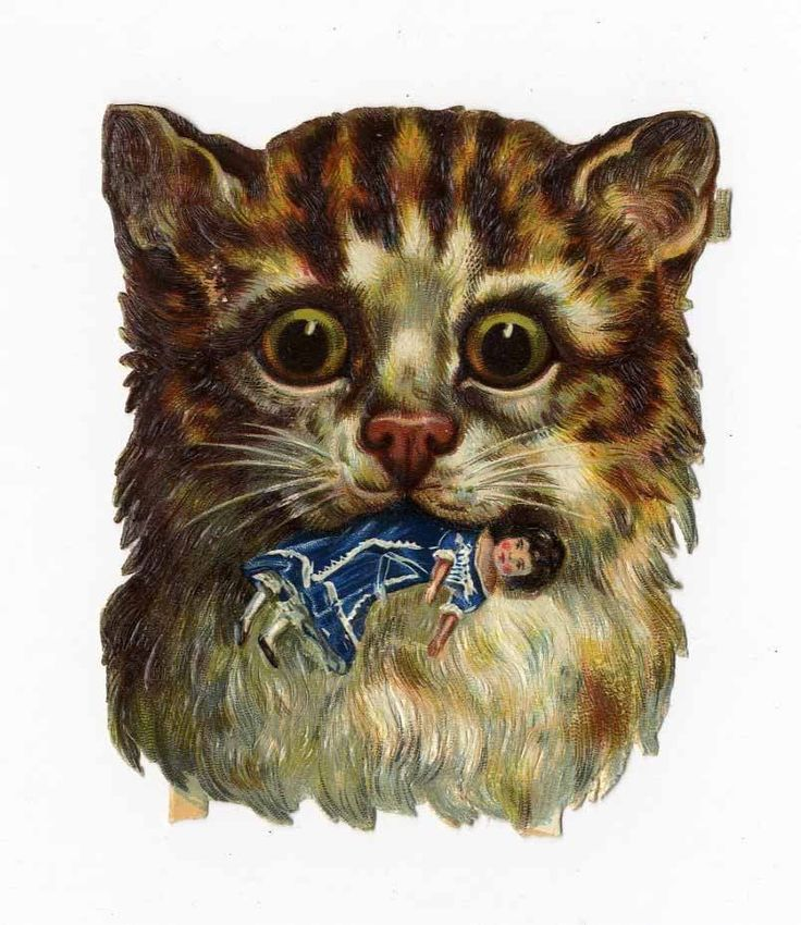 CAT with DOLL in Mouth Victorian Die Cut - 1880 s - Kitten