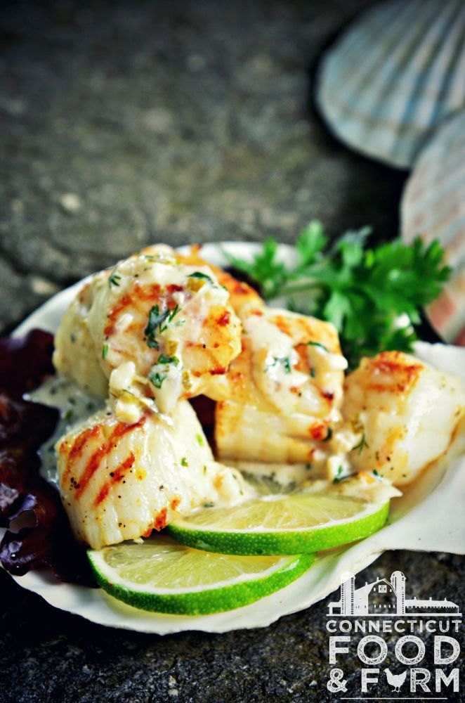 Grilled Scallops And Fettuccine With English Pea Butter Sauce Recipes ...