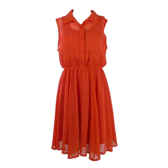 Free shipping Womens Clothes Evening dress Turndown Collar Sleeveless
