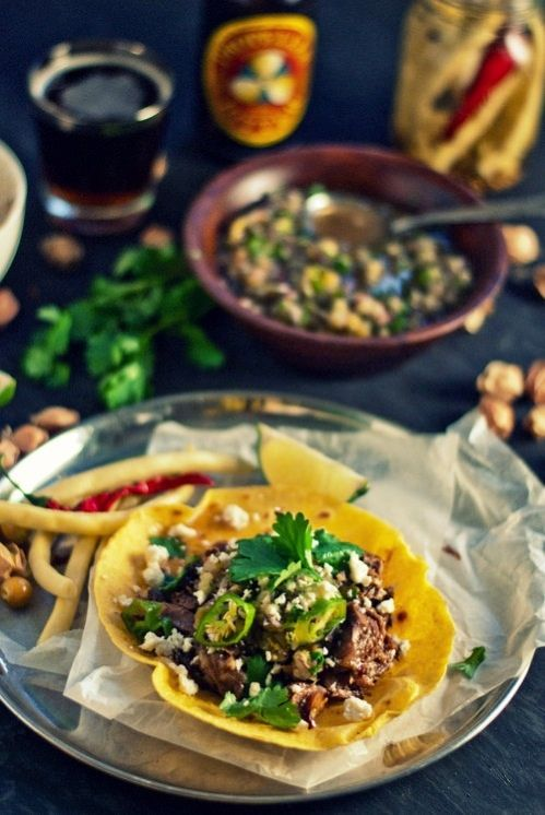 Chipotle Braised Lamb Shank Tostadas With Roasted Shisito, Tomatillo ...