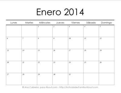 Calendarios 2014 simples para imprimir> Enero #Calendario #Imprimir #Imprimible #Printable