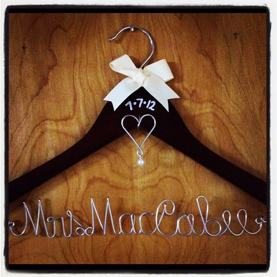 Personalized Wire Wedding Dress Hanger w/ by UnderTheUmbrellaMom