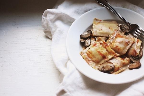 Pumpkin Sage Ravioli with Mushroom Goat Cheese Cream Sauce... recipe ...