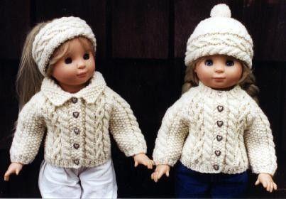 Knitting Patterns For 5 Inch Dolls : 18 inch Doll Knitting Pattern Aran Raglan fits American ...