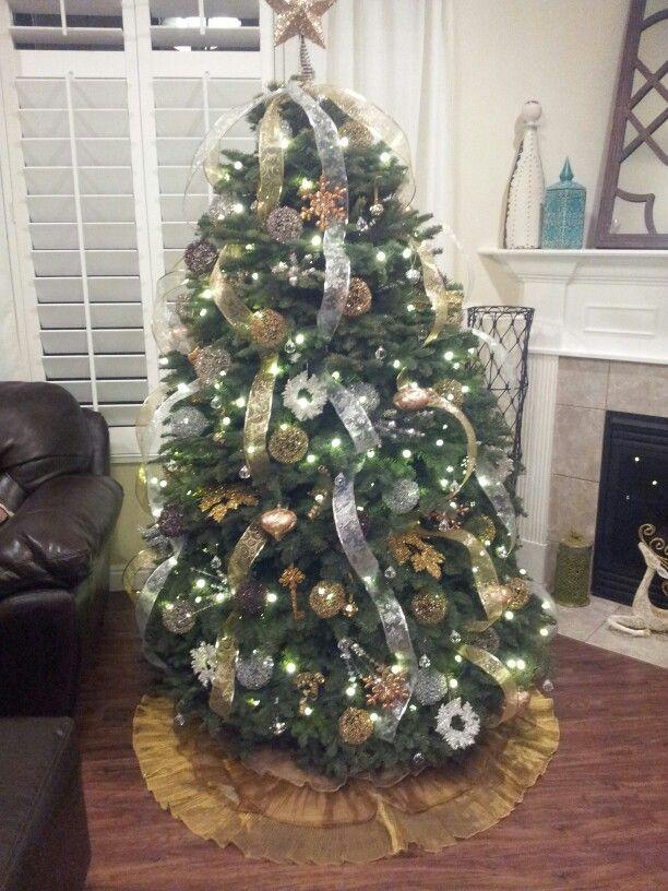 Silver And Gold Christmas Tree Christmas Pinterest