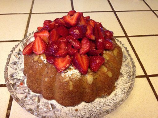 The Chew! Almond Bunt Cake with Fresh Strawberries
