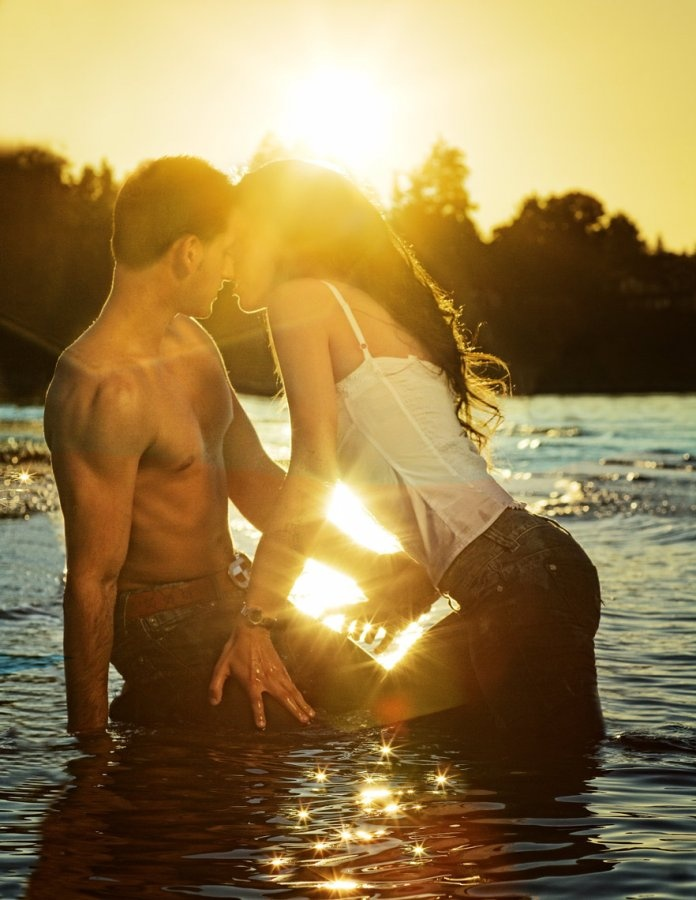Image detail for -sunset, couple kissing in water, sexy mood, photo by Suzanne Teresa