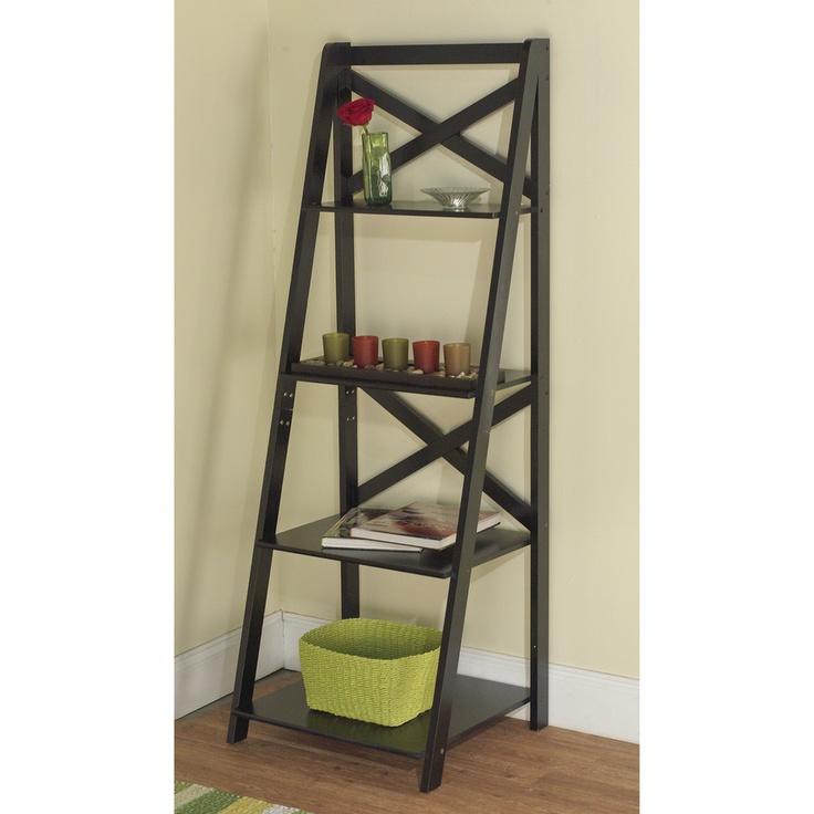 Simple living black wood x back 4 tier ladder shelf for Bathroom ladder shelf